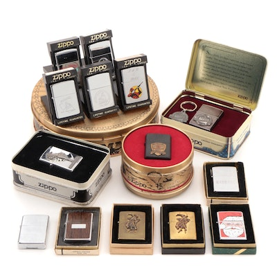 "Zippo Commemorative, Military, Novelty Lighters, ""D-Day"", ""Varga Girl"", and More"