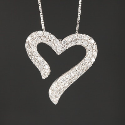 14K 1.00 CTW Pavé Diamond Pendant Necklace