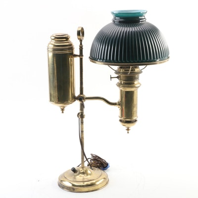 Edward Miller & Co. Converted New Vestal Brass Student Lamp