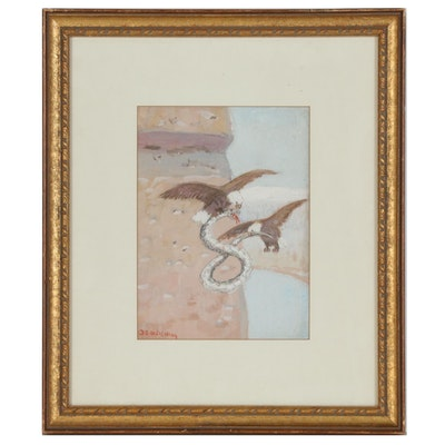 Edwin Deming Gouache Painting of Two Eagles with Snake