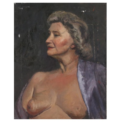 Portrait Oil Painting of Woman in Purple Robe, Mid 20th Century