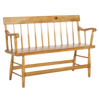Pine Spindle Back and Plank Bench, Early 20th Century
