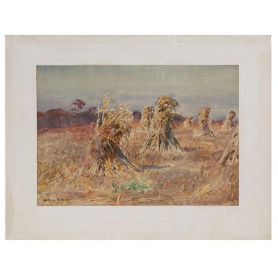 Arthur D. Fuller Pastoral Watercolor Painting of Corn Harvest