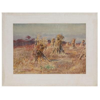 Arthur D. Fuller Pastoral Watercolor Painting of Corn Harvest