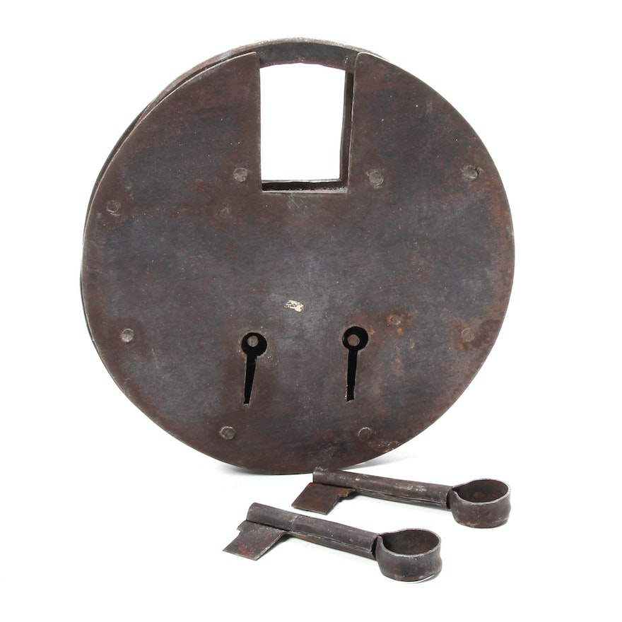 Hand Forged Oversized Padlock with Two Skeleton Keys, Antique