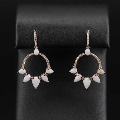 14K Rose Gold Opal and Diamond Dangle Earrings