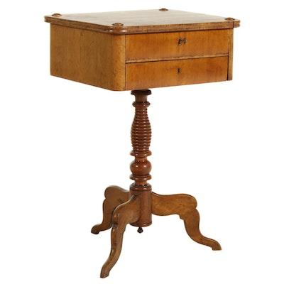 Swedish Biedermeier Fruitwood Veneered Sewing Table, Mid-19th Century
