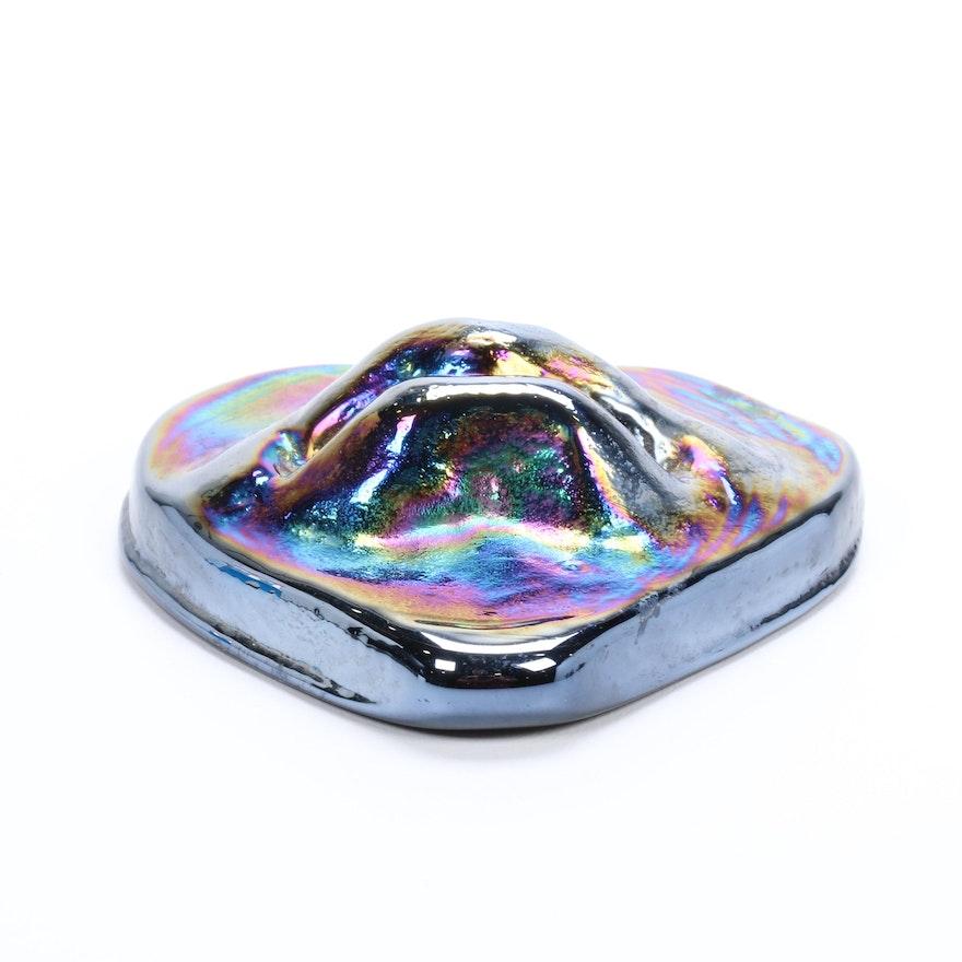 Robert Eickholt Handblown Iridescent Art Glass Heart Paperweight