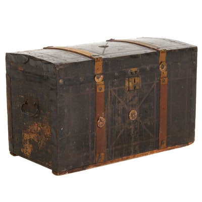 Dome Top Metal-Clad Steamer Trunk, Early 20th Century