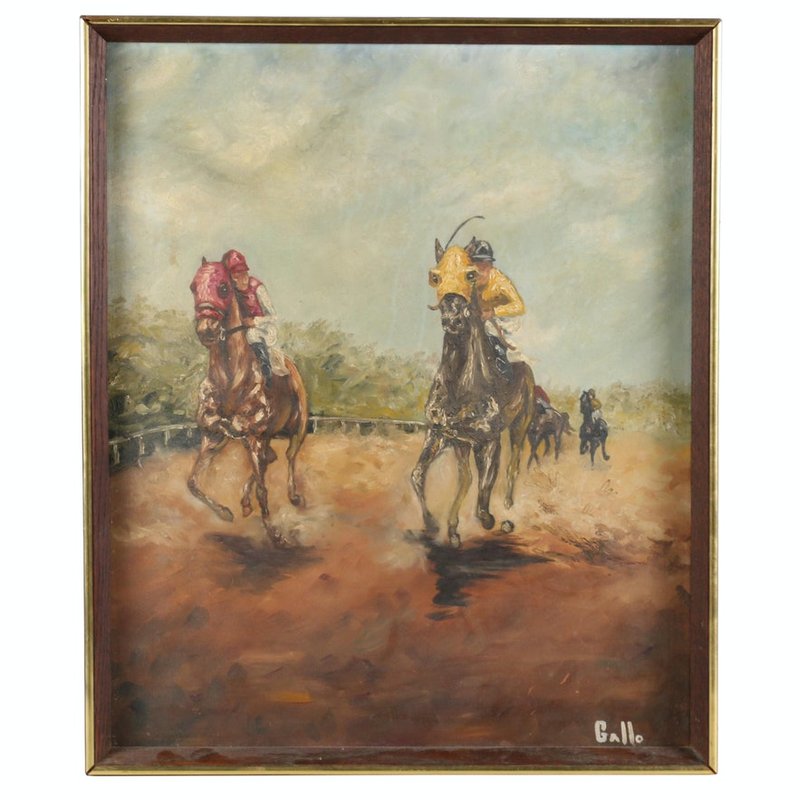 Impressionist Style Oil Painting of Horse Race, Early to Mid 20th Century