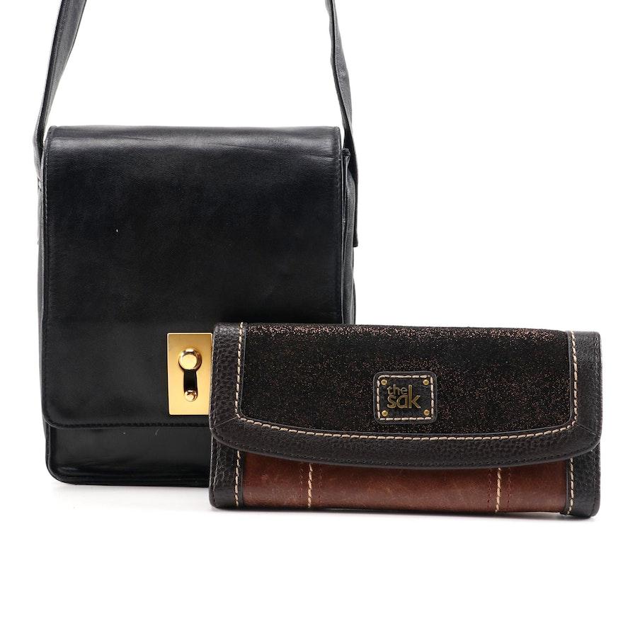 Perlina Black Leather Shoulder Bag and The Sak Iris Leather Wallet