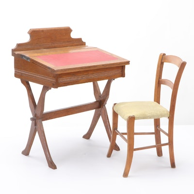 Oak Lift-Lid School Desk with Chair, Early 20th Century
