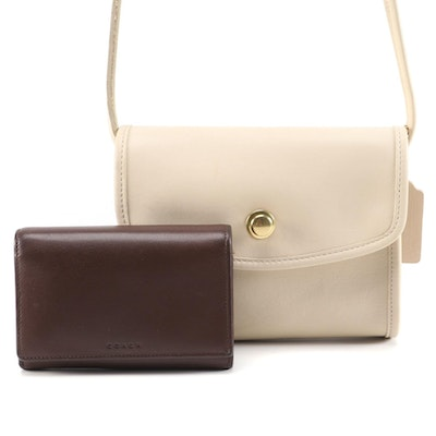 Coach Beige Leather Shoulder Bag and Brown Leather Bifold Wallet