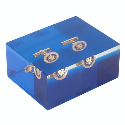 Steckler Gold Tone Presidential Seal Cufflinks in Acrylic Paperweight