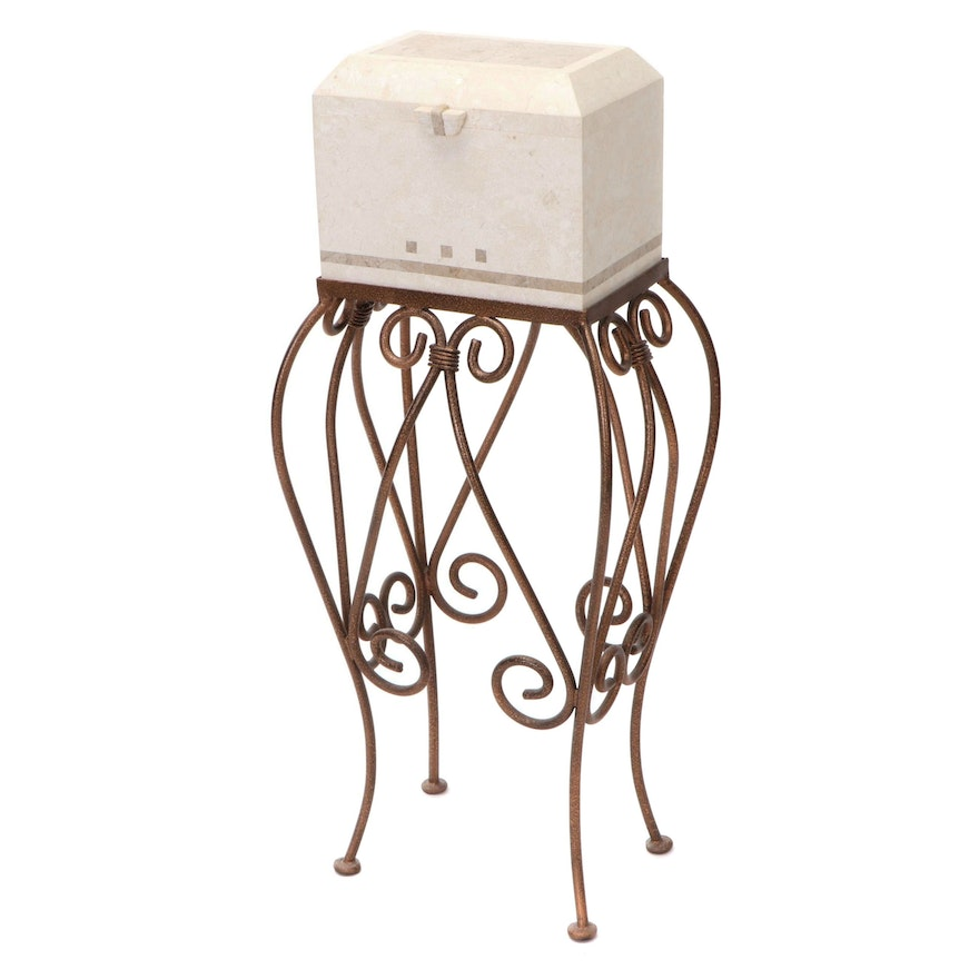 Faux Marble Resin Box on Decorative Metal Pedestal