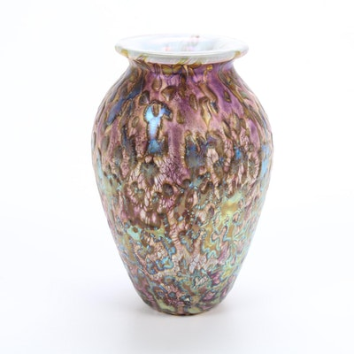 "Robert Eickholt Handblown Iridescent ""Tide Pool"" Art Glass Vase"
