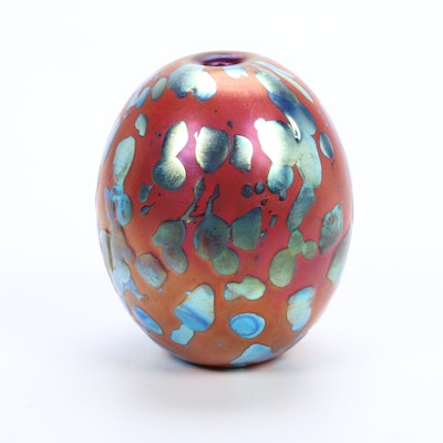 "Robert Eickholt Handblown ""Strawberry Fields"" Art Glass Bud Vase"