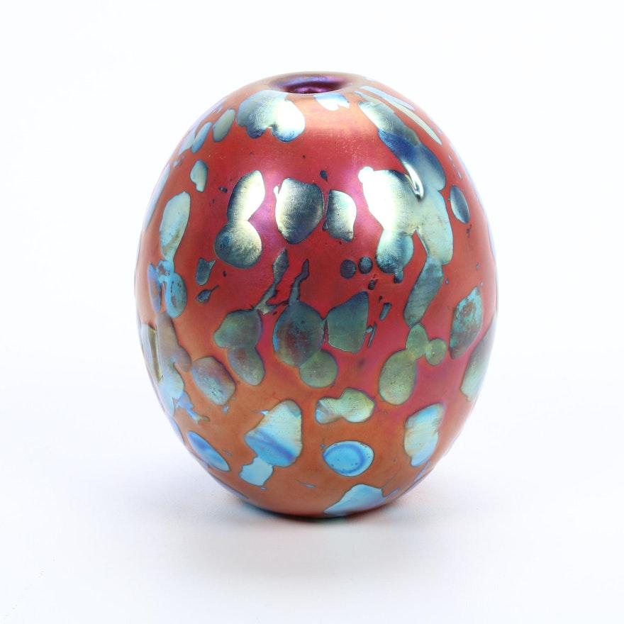 "Robert Eickholt Handblown ""Strawberry Fields"" Art Glass Bud Vase"