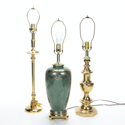 Chinoiserie Floral with Coordinating Brass Candlestick Lamps