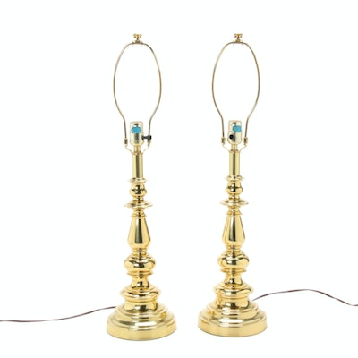 Pair of Brass Candlestick Lamps