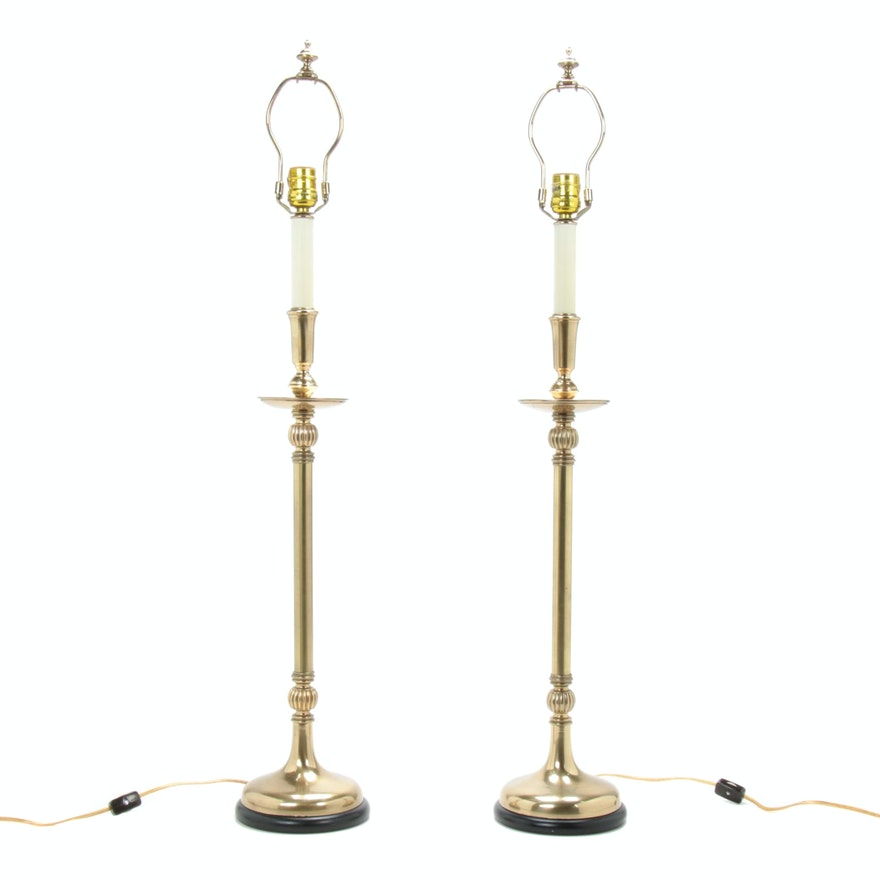 Frederick Cooper Brass Candlestick Lamps
