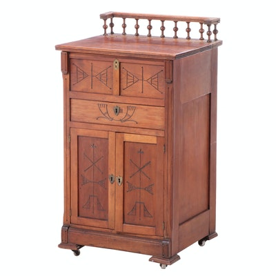 Victorian Cherrywood Lift-Lid Desk, Late 19th Century