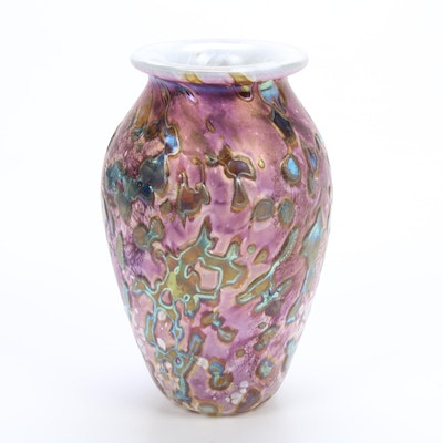 "Robert Eickholt Handblown ""Tide Pool"" Iridescent Art Glass Vase,"