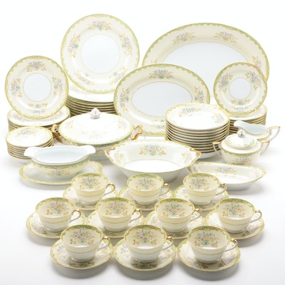 Noritake Floral and Gilt Porcelain Dinnerware, Mid-20th Century