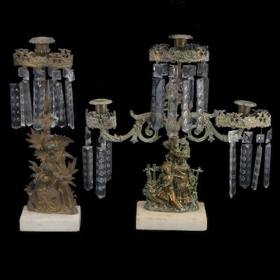 Victorian Cast Brass and Marble Girandole with Cut Glass Prisms