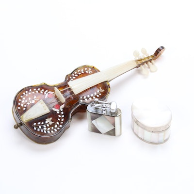 Mother of Pearl Windup Cello Music Box, Table Lighter and Trinket Box