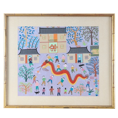 Chinese Gouache Folk Painting of Villagers with Dragon