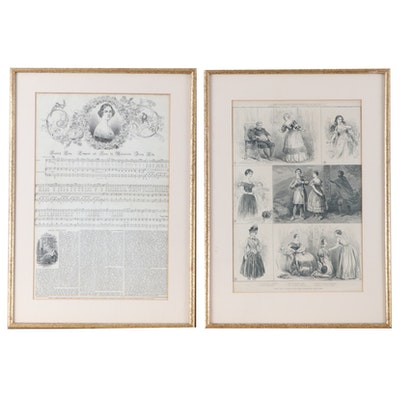 "Framed ""London News"" Articles on Swedish Opera Singer Jenny Lind, 19th Century"