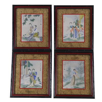 Turner Wall Accessory Japanese Style Lithographs of Female Figures