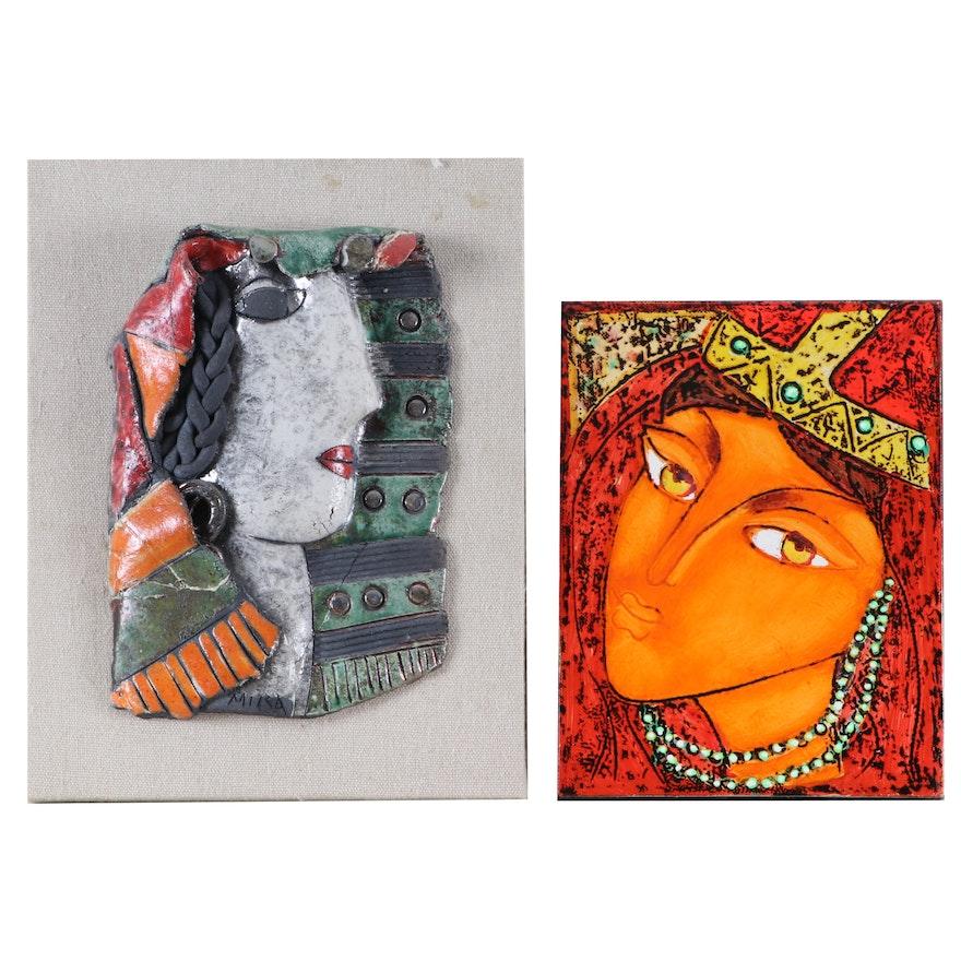 "Georgian Oil Painting ""Girl"" and Glazed Art Pottery Mount"