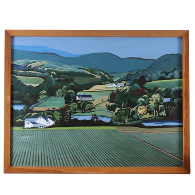 Modernist Style Oil Painting of Rural Landscape, Late 20th Century