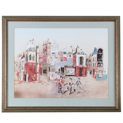 French Cabaret Street Scene Watercolor Painting