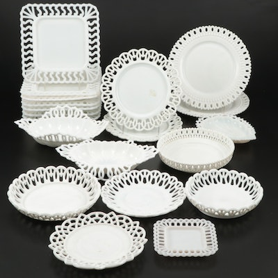 "Westmoreland ""Wicker Edge"", ""Square"" and Other Open Work Milk Glass Serveware"