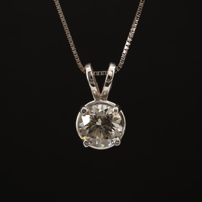 14K 0.87 CTW Diamond Solitaire Pendant Necklace