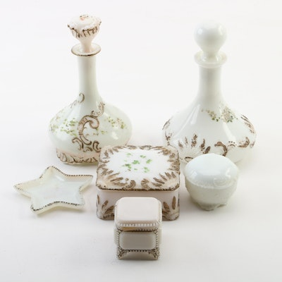Hand Painted Milk Glass Decorative Boxes, Trinket Dish, and Stoppered Vases