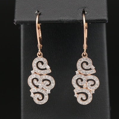 14K Rose Gold Diamond Swirl Dangle Earrings