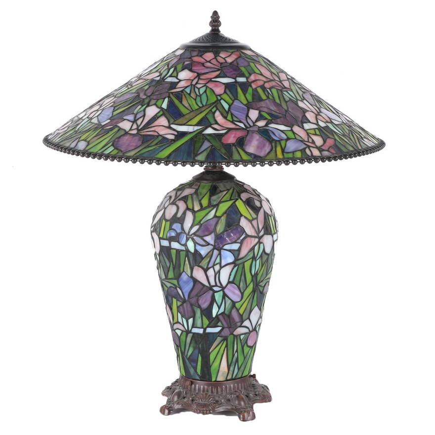 Arts and Crafts Style Stained Glass Lamp with Matching Shade