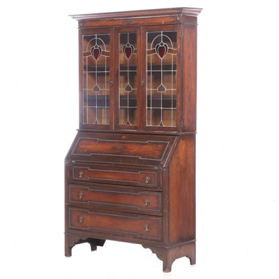 English Oak and Leaded Glass Bureau Bookcase, circa 1920