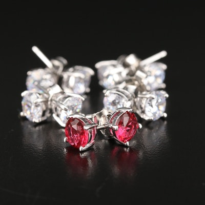 Sterling Glass and Cubic Zirconia Stud Earring Assortment
