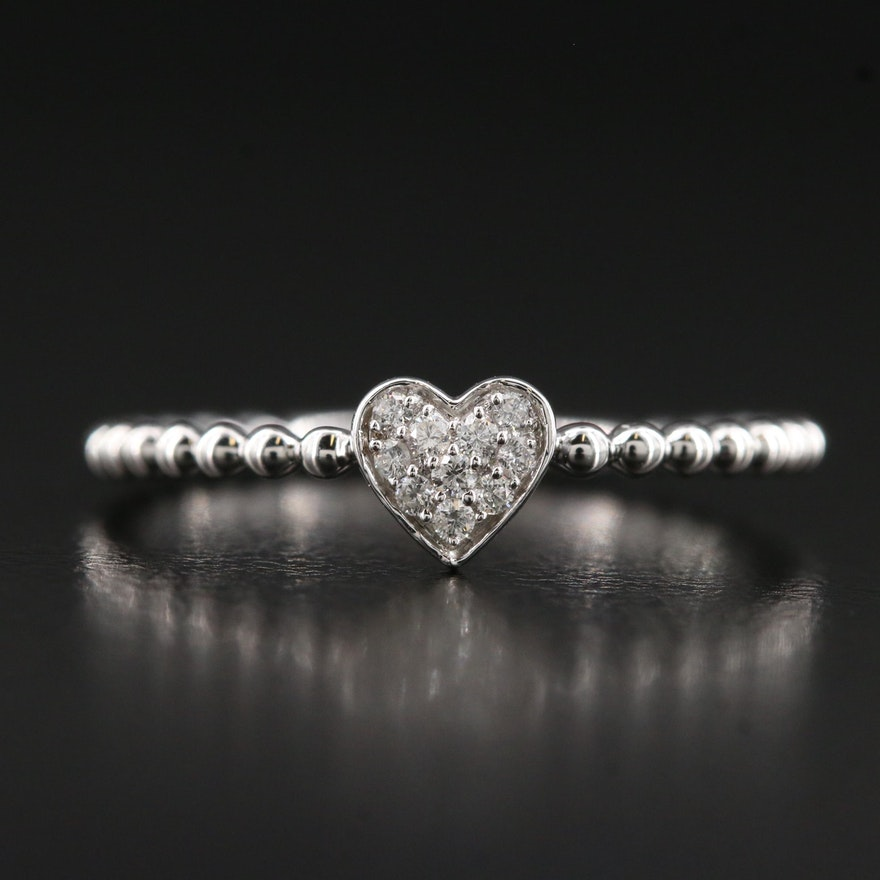 14K Pavé Diamond Heart Ring