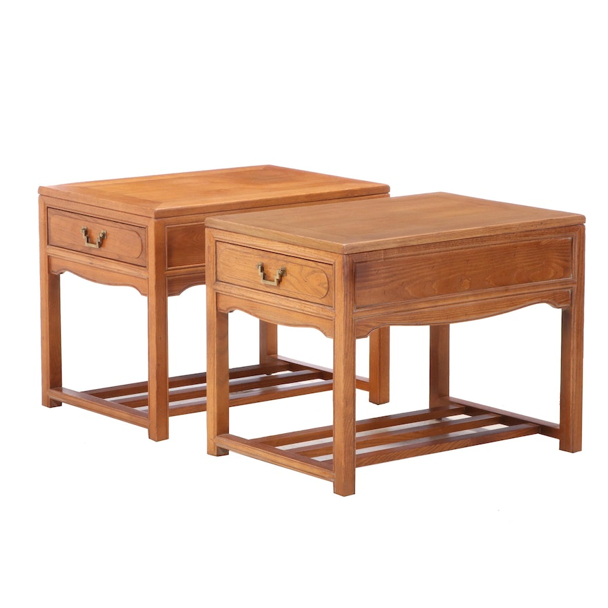 """Pair of Century Furniture """"Sobota Collection"""" Chinese Style Oak Side Tables"""
