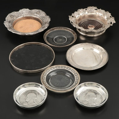 Gorham Sterling Silver Trivet Tray with Sterling, Silver Plate and Pewter Coaste