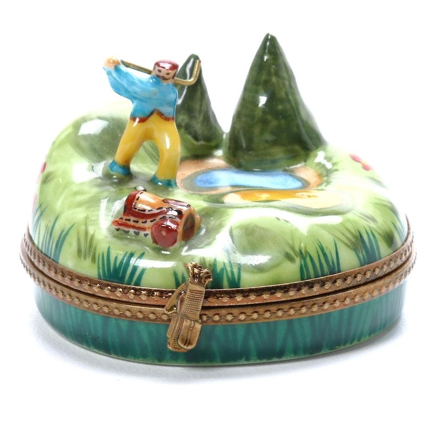 """Hand-Painted Porcelain """"La Vie en Rose"""" Limoges Box"""