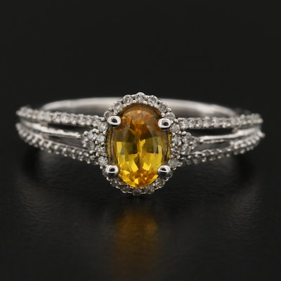 14K Yellow Sapphire Ring with Diamond Shoulders and Halo