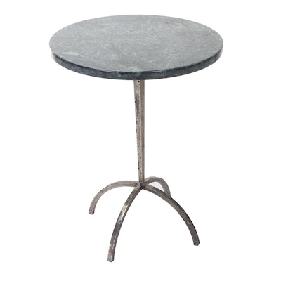 Green Marble Top Side Table on Metal Base