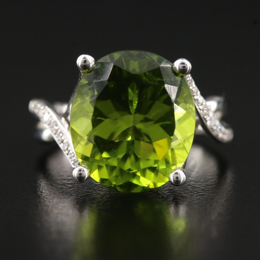 18K Diamond and 8.81 CT Peridot Ring